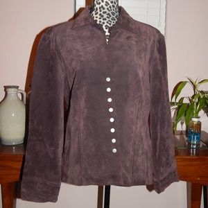 AMI Brown Suede Leather Jacket